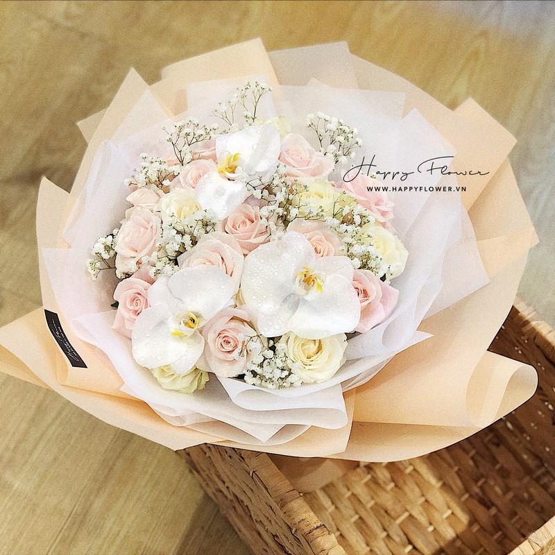 bó hoa hồng phấn Đà Lạt đẹp