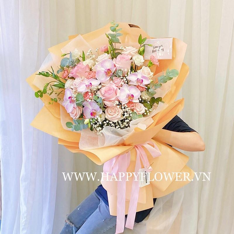 bó hoa hồng Ecuador hồng đẹp tặng mẹ