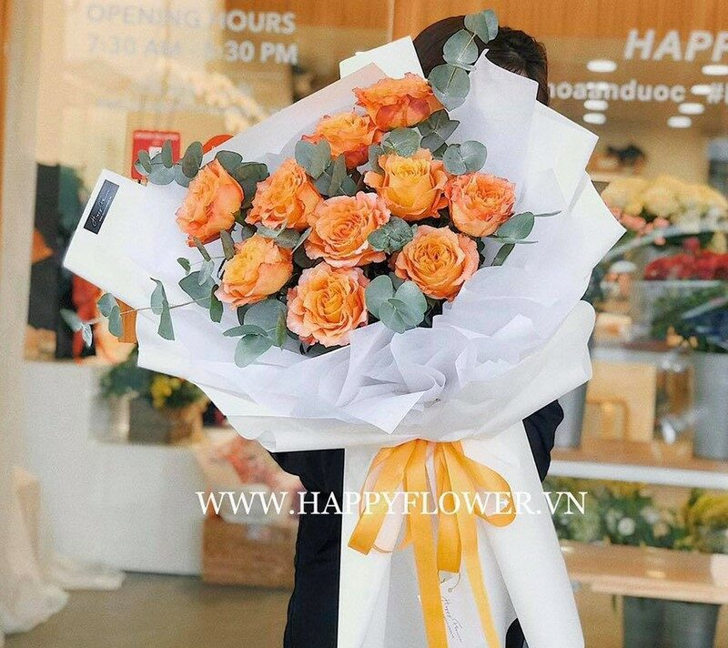 bó hoa hồng cam Ecuador tặng mẹ