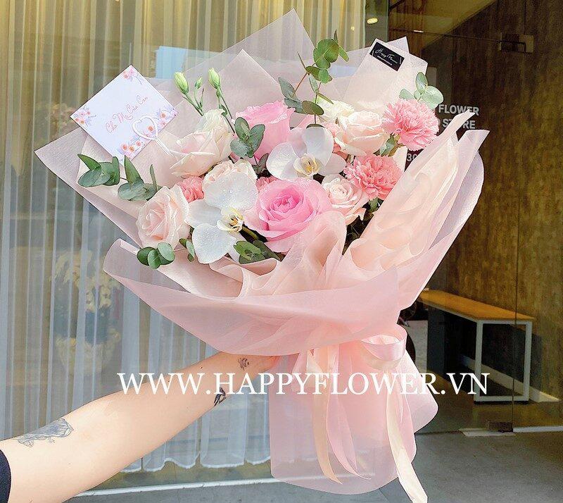 bó hoa hồng phớt và hoa lyly tặng mẹ