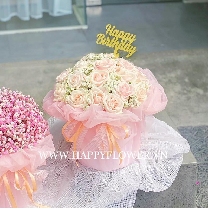 giỏ hoa hồng kem mini tặng mẹ