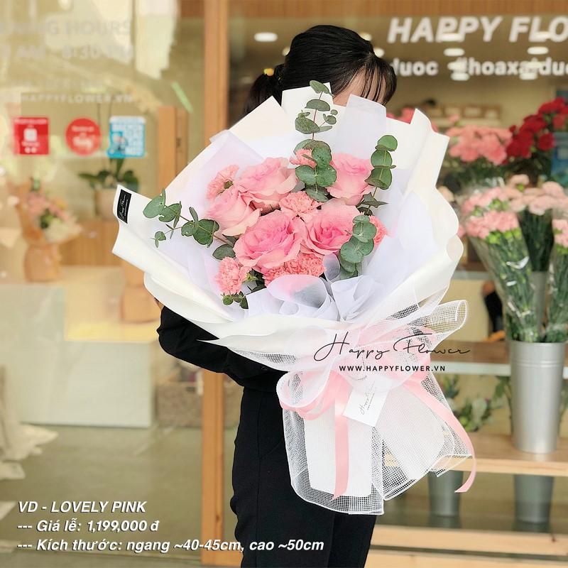 bó hoa hồng Ecuador màu hồng nhạt tặng mẹ