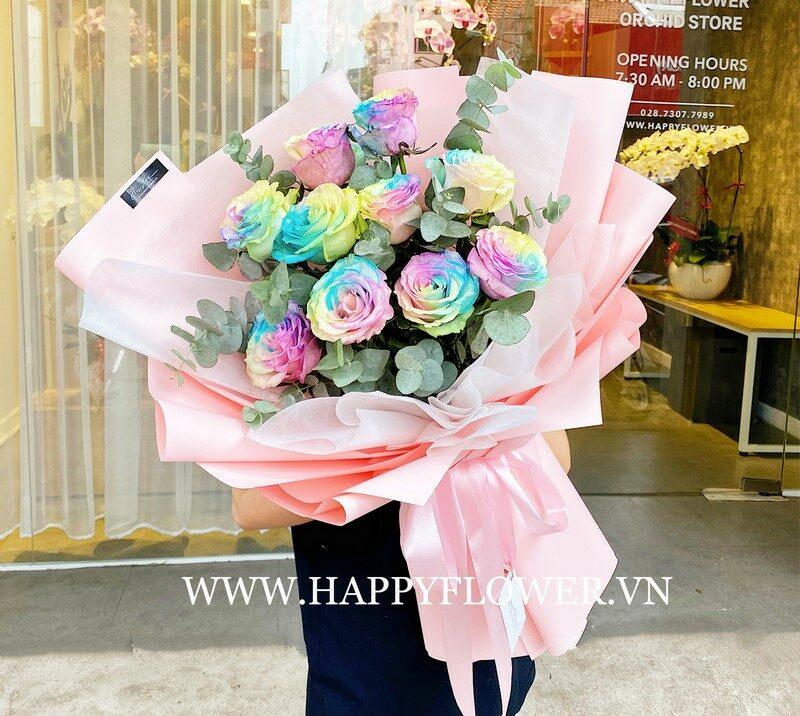 bó hoa hồng Ecuador Fancy Cake xanh hồng vàng tặng mẹ