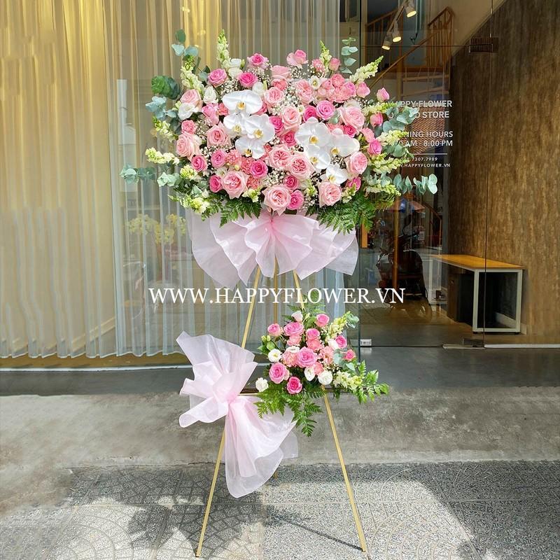 kệ hoa hồng 2 tầng màu pastel đẹp tặng mẹ
