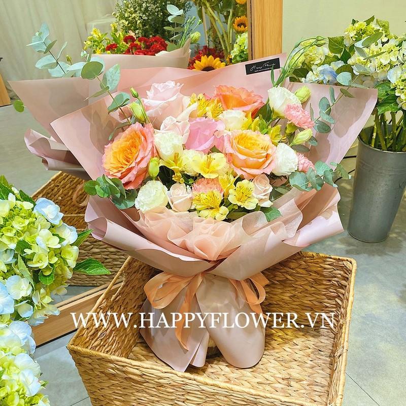 bó hoa hồng Ecuador màu cam vàng tặng mẹ