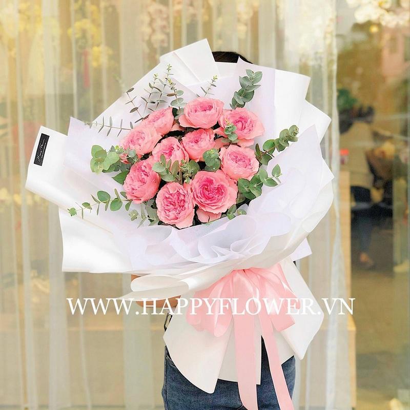bó hoa hồng màu hồng đậm đơn giản