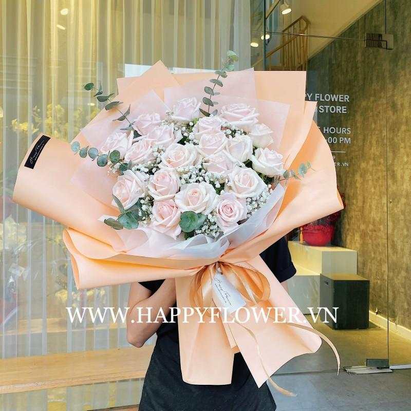 Bó hoa hồng kem mang nhiều ý nghĩa