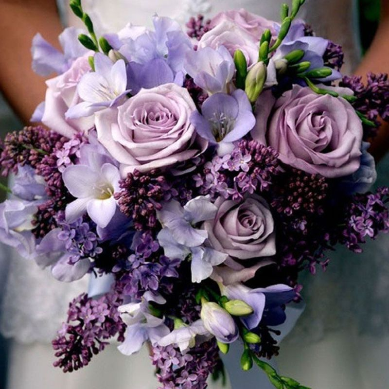hoa hồng tím mix nhiều loại hoa