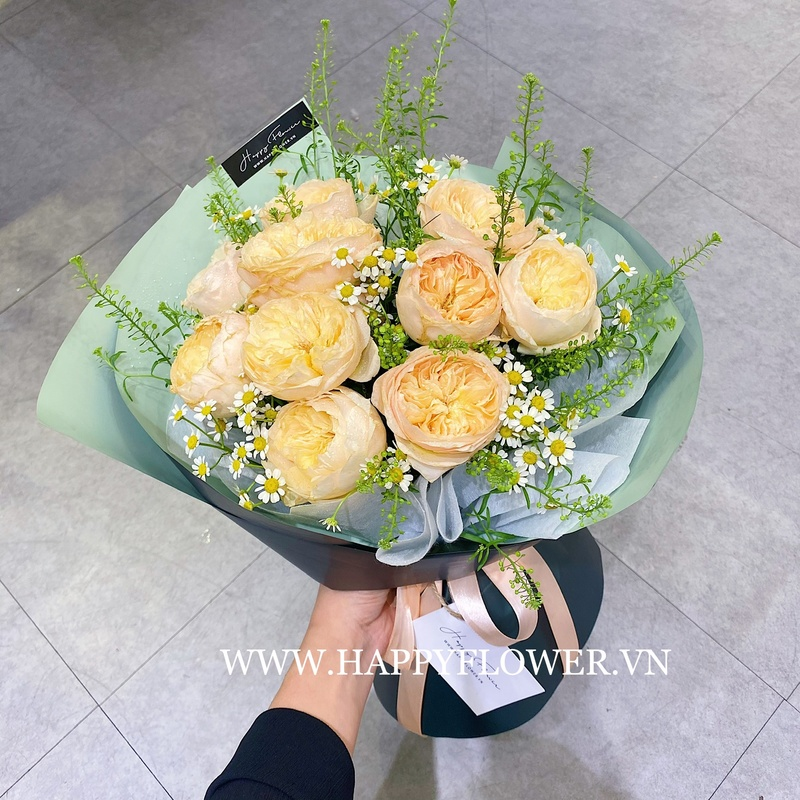 Bó hoa hồng màu vàng mix hoa cúc họa mi