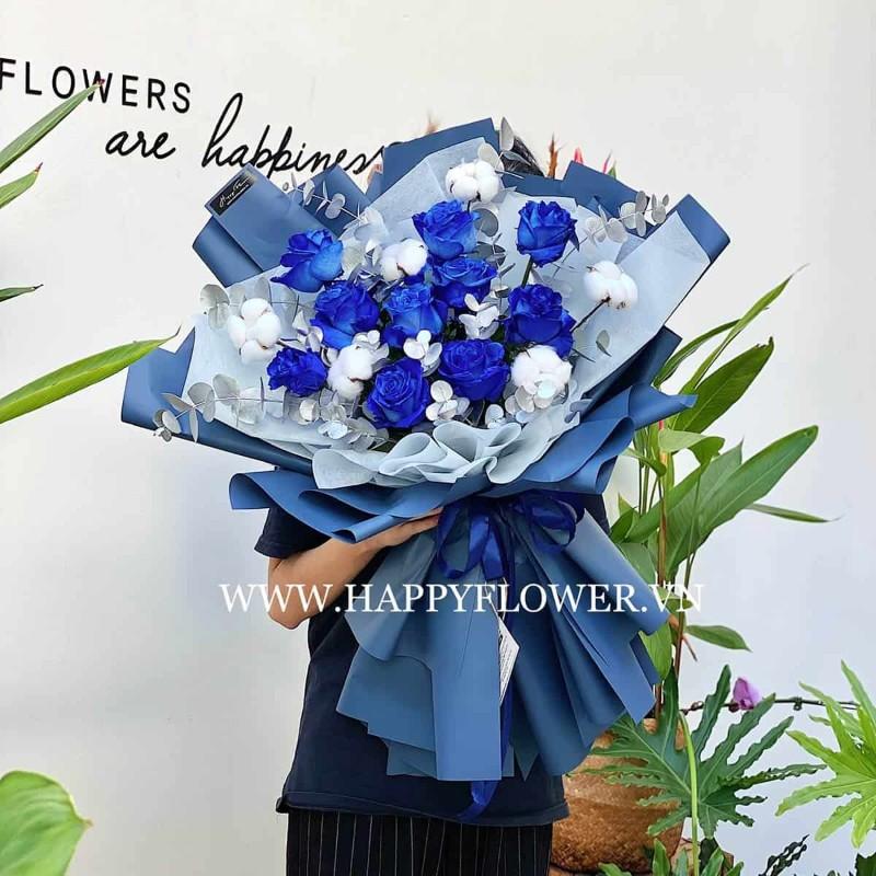 Bó hoa hồng màu xanh sang trọng
