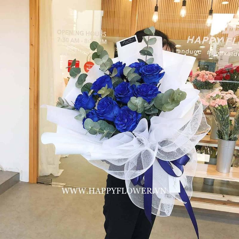 Bó hoa hồng màu xanh tặng sinh nhật ý nghĩa