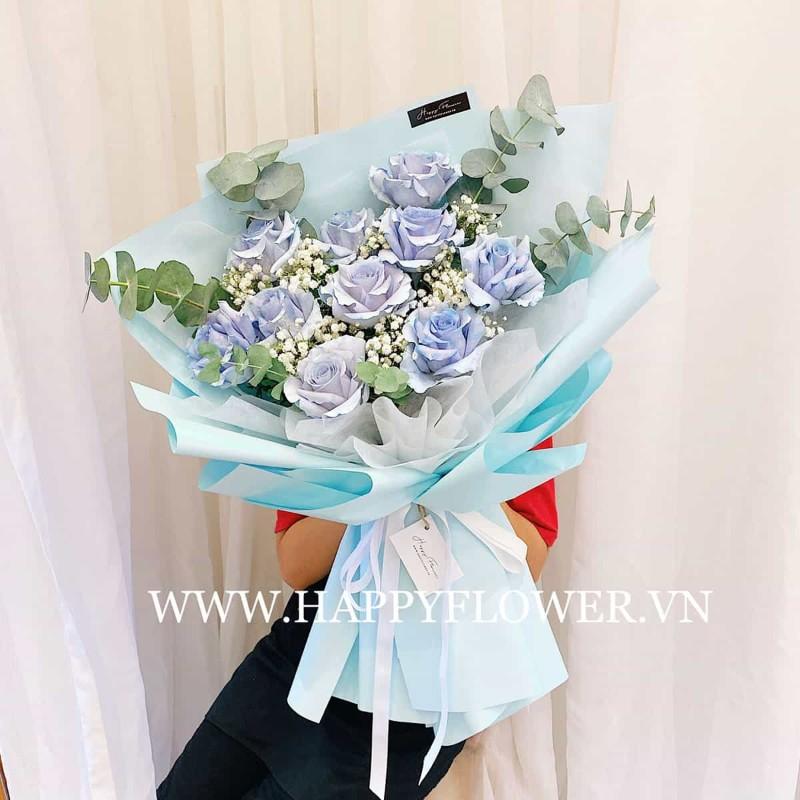 Hoa hồng màu xanh pastel nhẹ nhàng