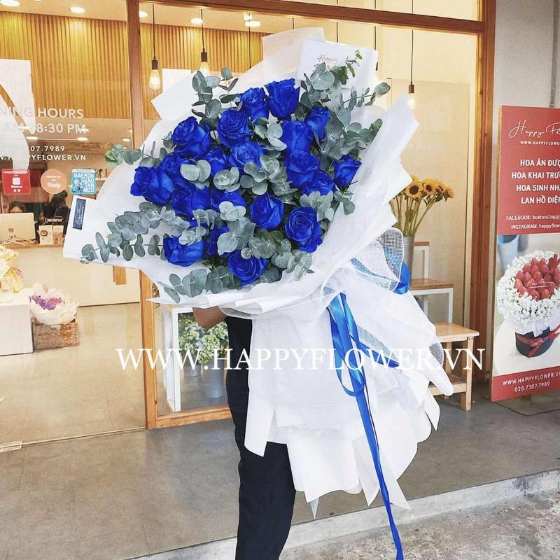 Bó hoa hồng xanh size đại