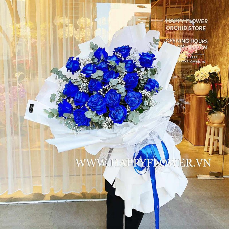 Hoa hồng xanh kết hợp hoa baby trắng