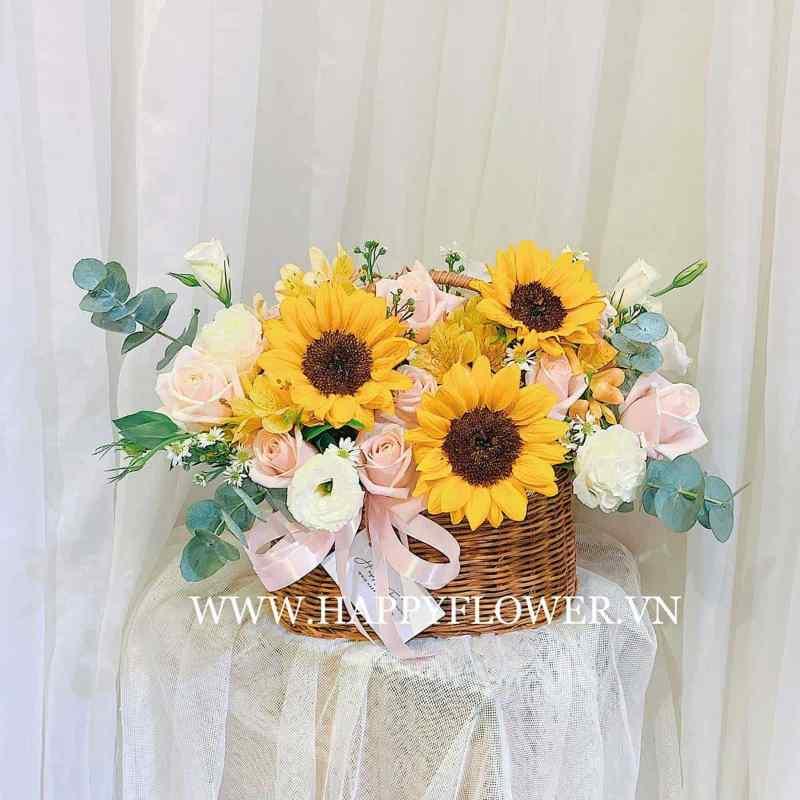 giỏ hoa hướng dương 3 bông