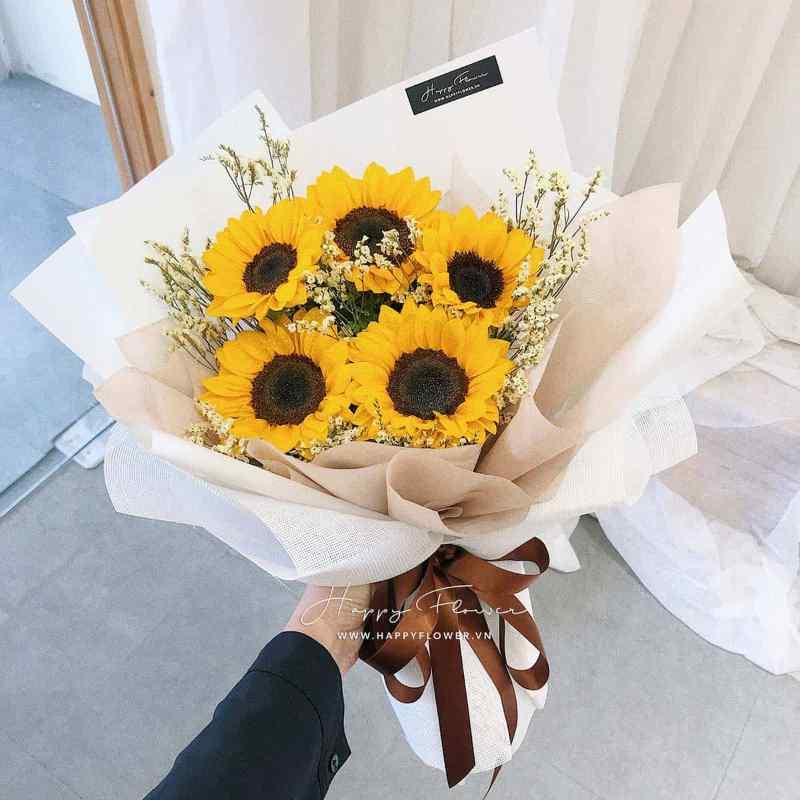 bó hoa hướng dương giấy trắng