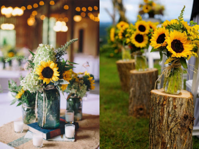 các lọ hoa trang trí bằng hoa hướng dương