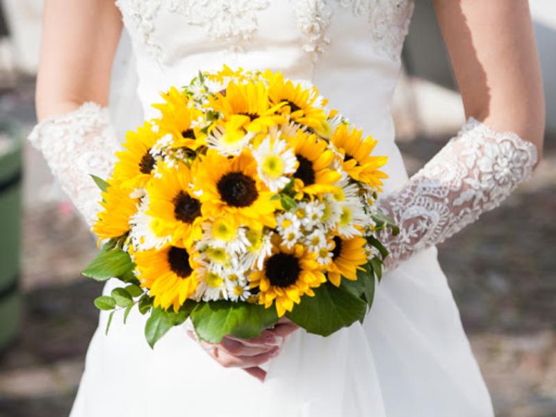 hoa cưới hướng dương cầm tay kết hợp hoa cúc tana