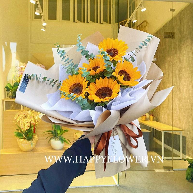 bó hoa hướng dương 5 bông