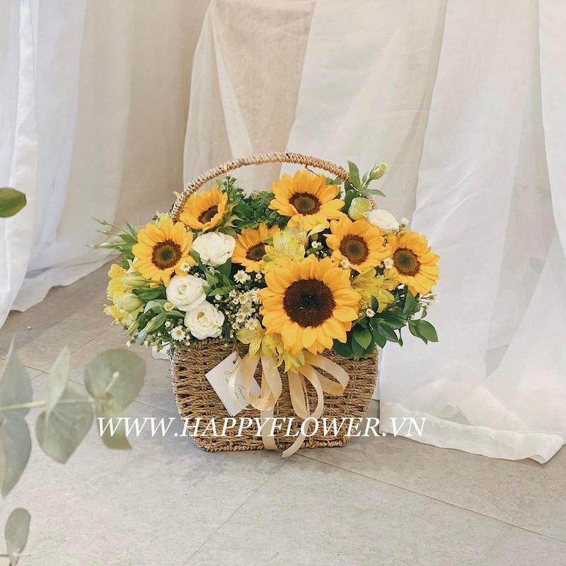 giỏ hoa hướng dương vintage
