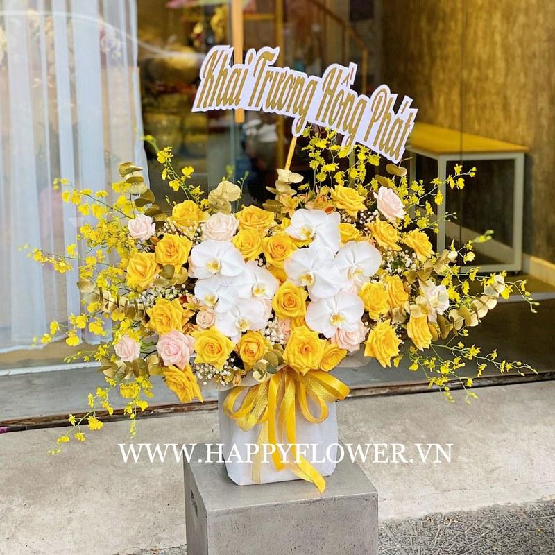kệ hoa khai trương lan hồ điệp trắng mix hoa hồng vàng