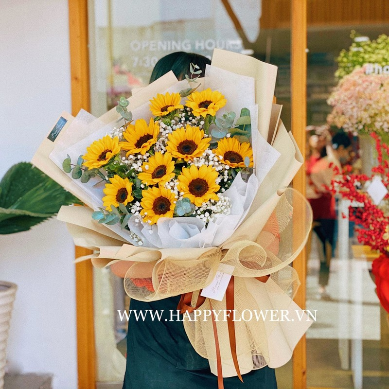 bó hoa khai trương hoa hướng dương mix hoa baby trắng