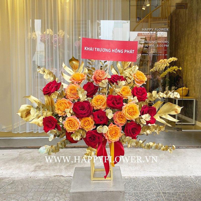 kệ hoa khai trương hoa hồng đỏ mix hoa hồng cam