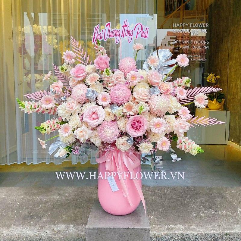 bình hoa khai trương cẩm tú cầu mix hoa hồng và hoa đồng tiền gam hồng