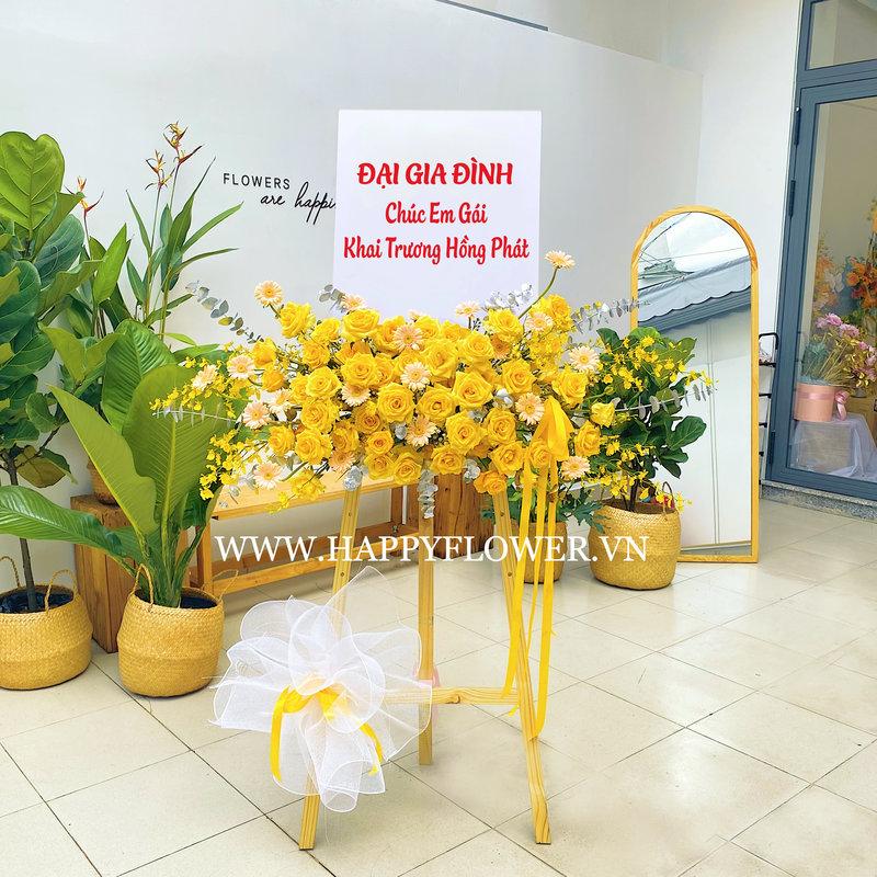 kệ hoa khai trương hoa hồng vàng mix hoa đồng tiền