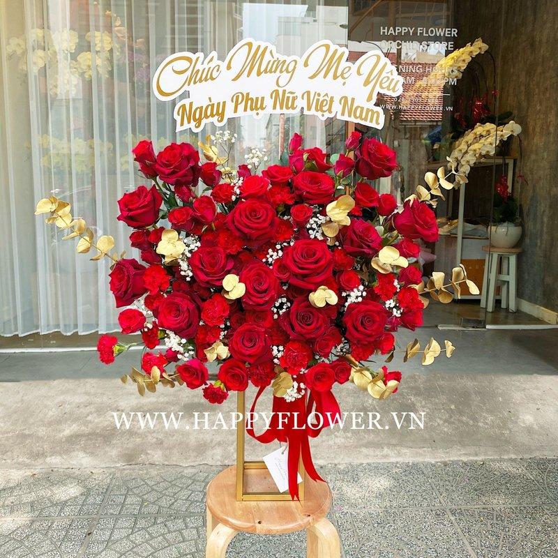 kệ hoa khai trương hoa hồng đỏ mix hoa baby trắng