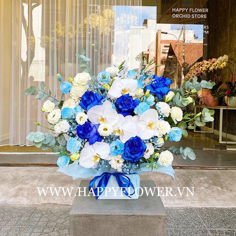 hộp hoa khai trương lan hồ điệp trắng mix hoa hồng Ecuador xanh tươi mát