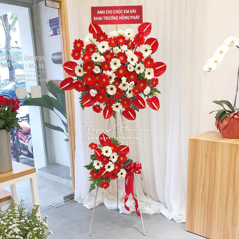 kệ hoa khai trương hoa hồng môn đỏ mix hoa đồng tiền đỏ và trắng