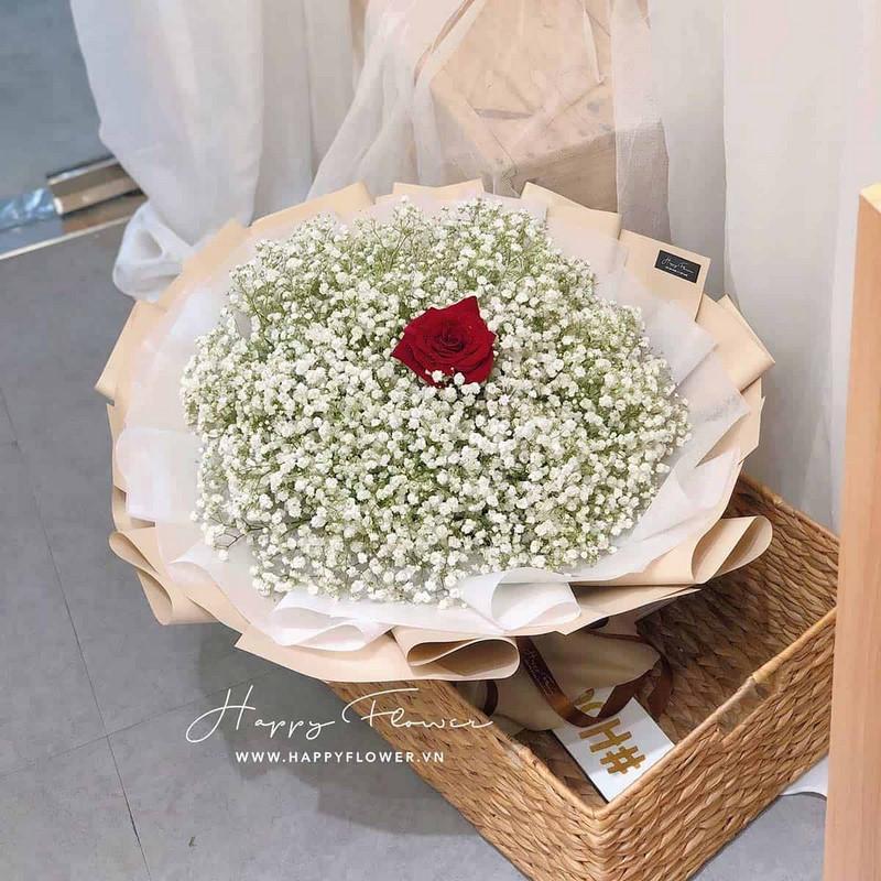 bó hoa baby trắng và hoa hồng đỏ Ecuador