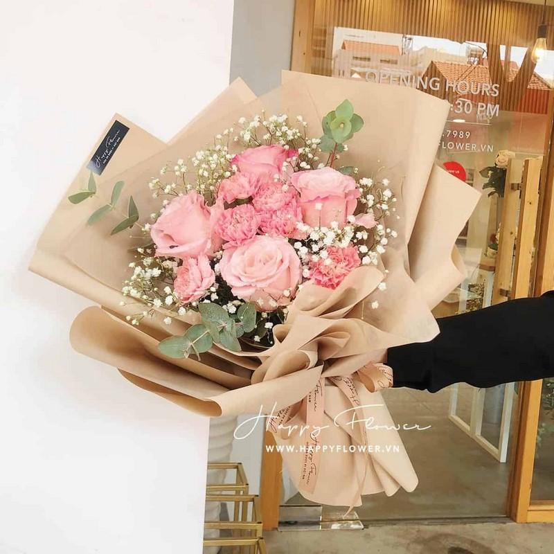 bó hoa hồng Ecuador màu hồng phớt