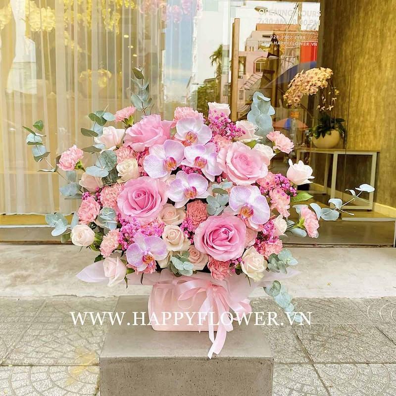 chậu hoa lan màu hồng tím phối hoa hồng đẹp