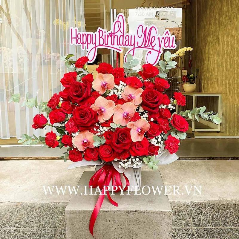 chậu hoa lan màu hồng cam mix hoa đồng đỏ rực rỡ