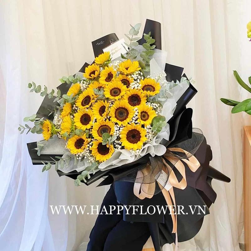 bó hoa sinh nhật hướng dương vàng mix hoa baby trắng