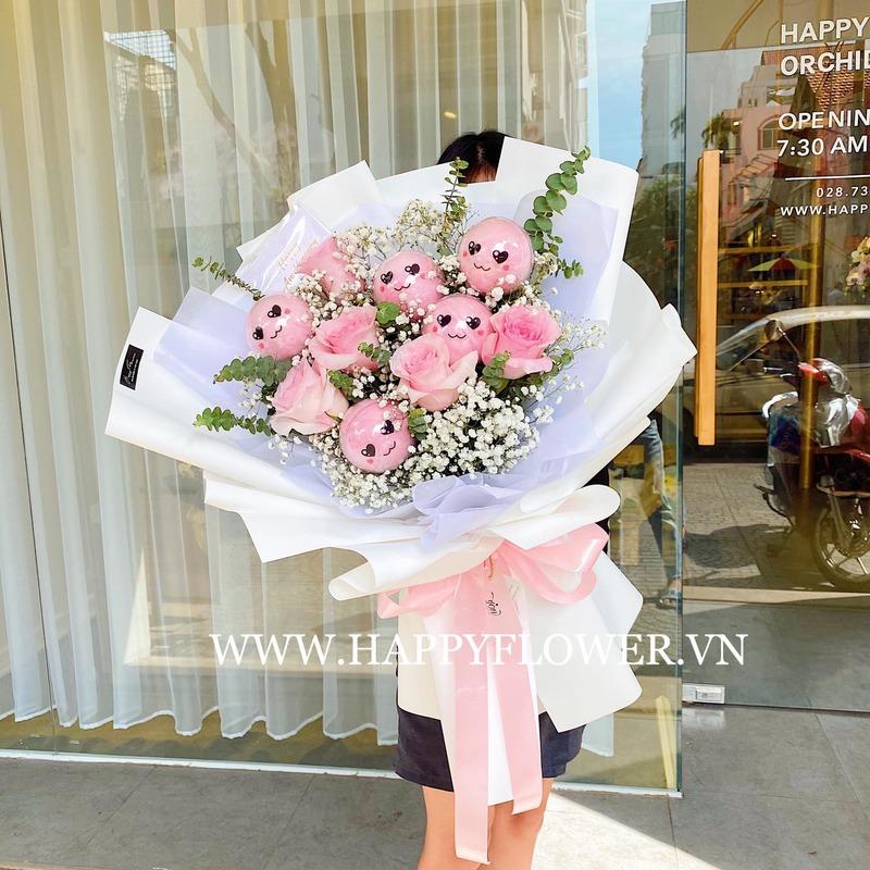 bó hoa sinh nhật kẹo bông gòn hồng mix hoa baby trắng
