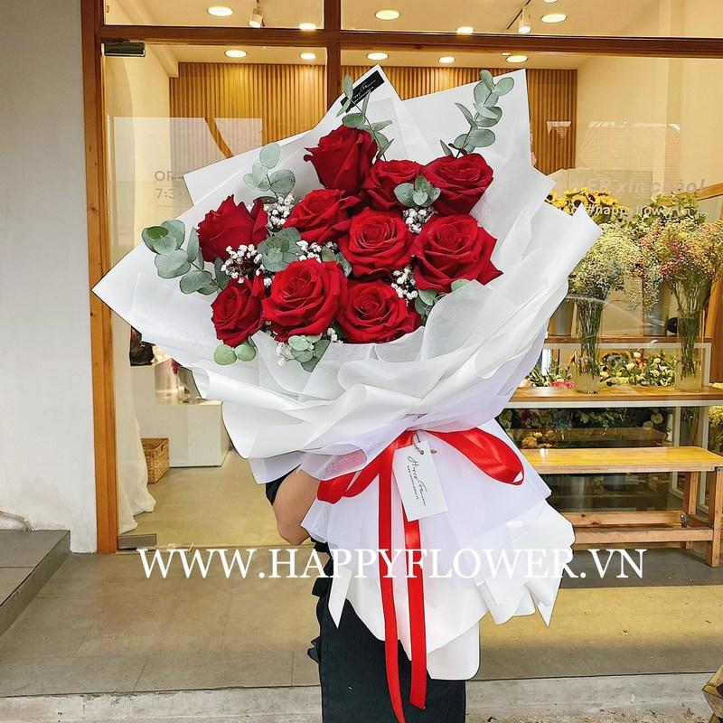 bó hoa sinh nhật hoa hồng đỏ mix hoa baby trắng