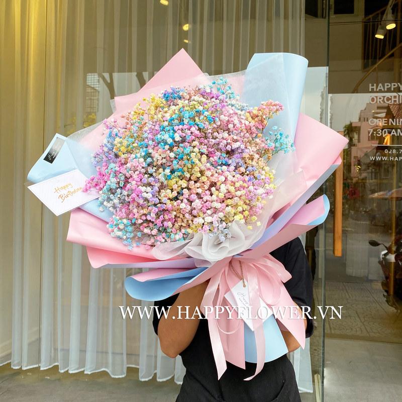 bó hoa sinh nhật baby màu cầu vồng