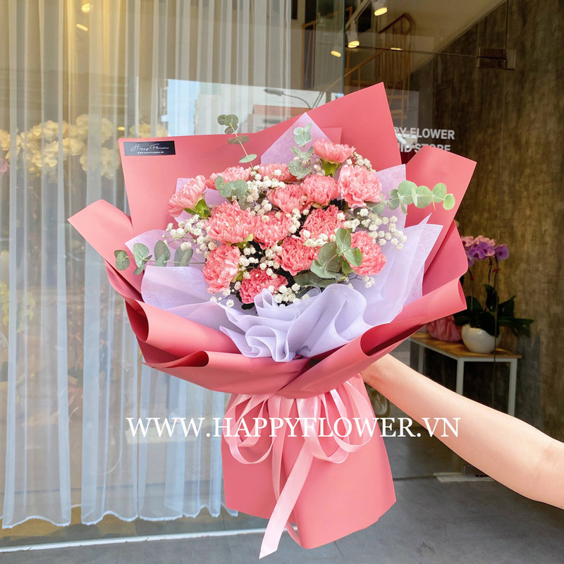 bó hoa sinh nhật cẩm chướng hồng mix hoa baby trắng
