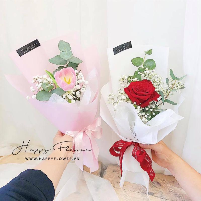 bó hoa sinh nhật cho bé gái hoa hồng đỏ hoặc hoa tulip