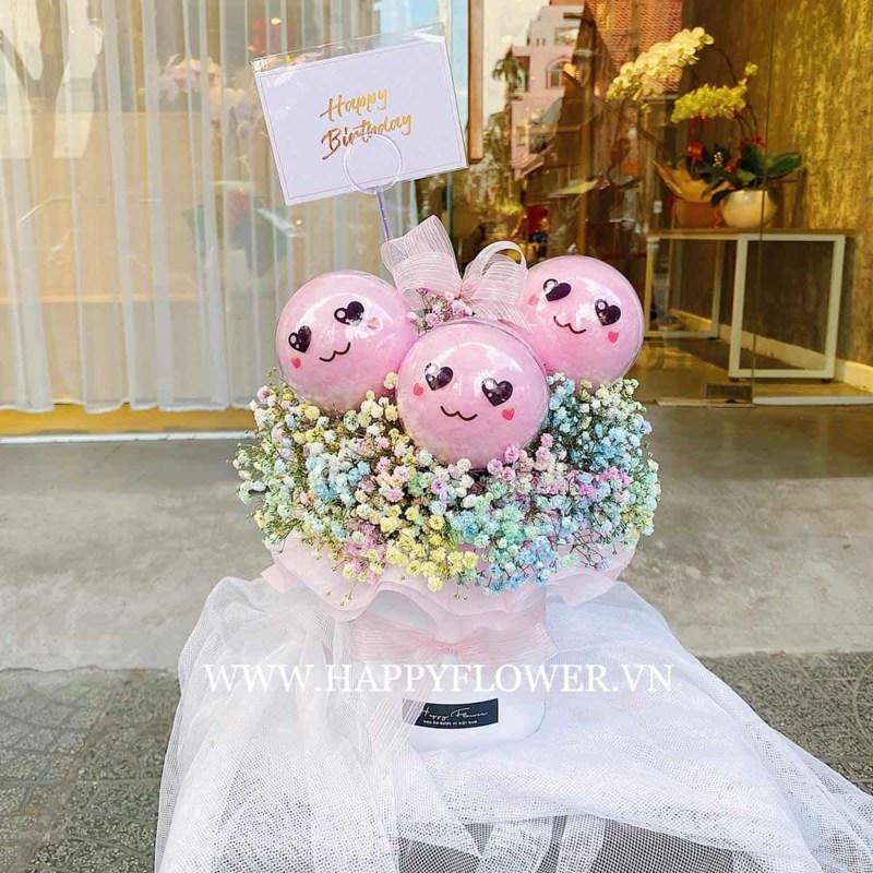 Hộp hoa sinh nhật cho bé gái 3 viên kẹo bông gòn mix hoa baby rainbow