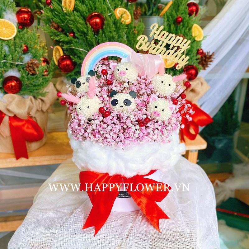 Hộp hoa sinh nhật cho bé gái Ping Pong thú cưng mix hoa baby hồng