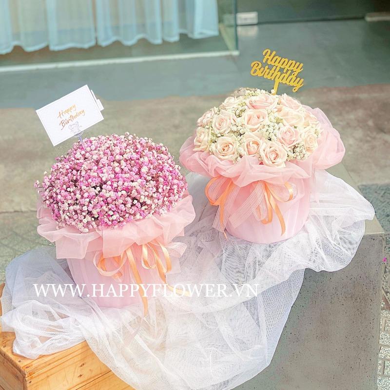 hoa sinh nhật cho bé gái baby tím và hoa hồng màu kem