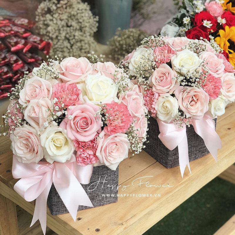 Hộp hoa sinh nhật cho bé gái hoa hồng tone màu pastel