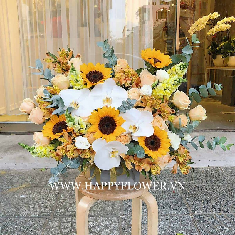 giỏ hoa hướng dương tặng sinh nhật nam giới