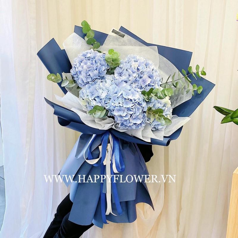 bó hoa cẩm tú cầu xanh tặng sinh nhật nam giới