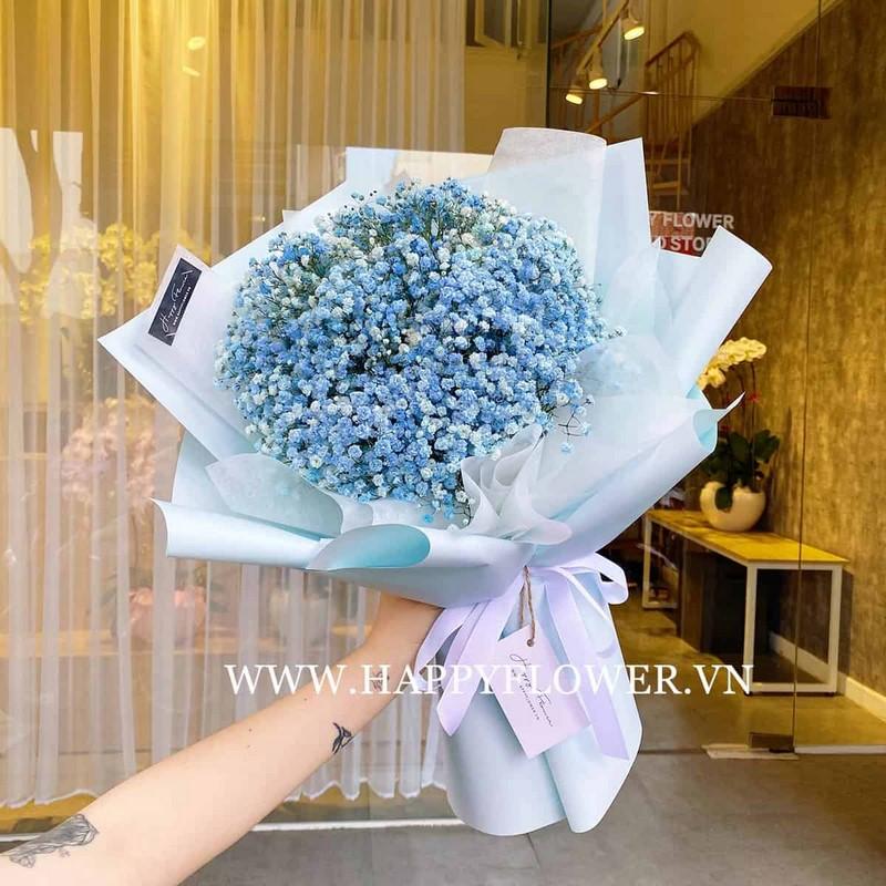 bó hoa cúc tana màu xanh dương tặng sinh nhật nam giới