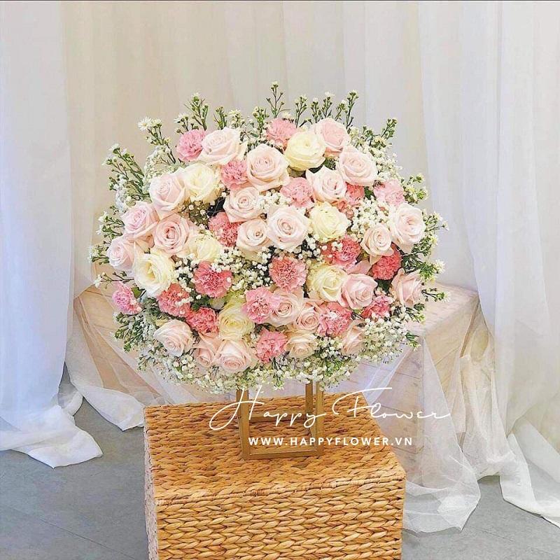 Giỏ hoa mix nhiều loại hoa màu hồng cực đẹp